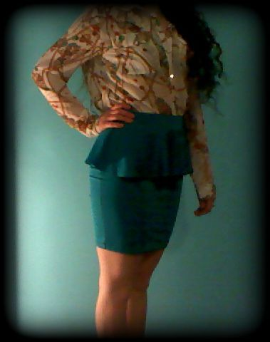Teal peplum skirt