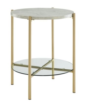 Walker Edison 20 Inch Round Side Table In White Faux Marble And Gold Reviews Furniture Macy S Marble End Tables White Side Tables Round Side Table