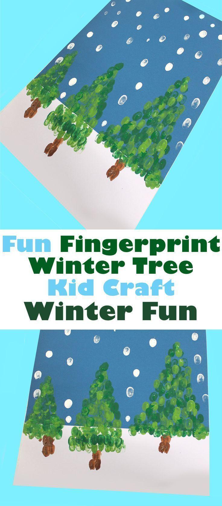 Fingerabdruck Winterbaum Kind basteln - Weihnachten Kind basteln - Kunsthandwerk aktivi ...- ... #bastelnadventkinder
