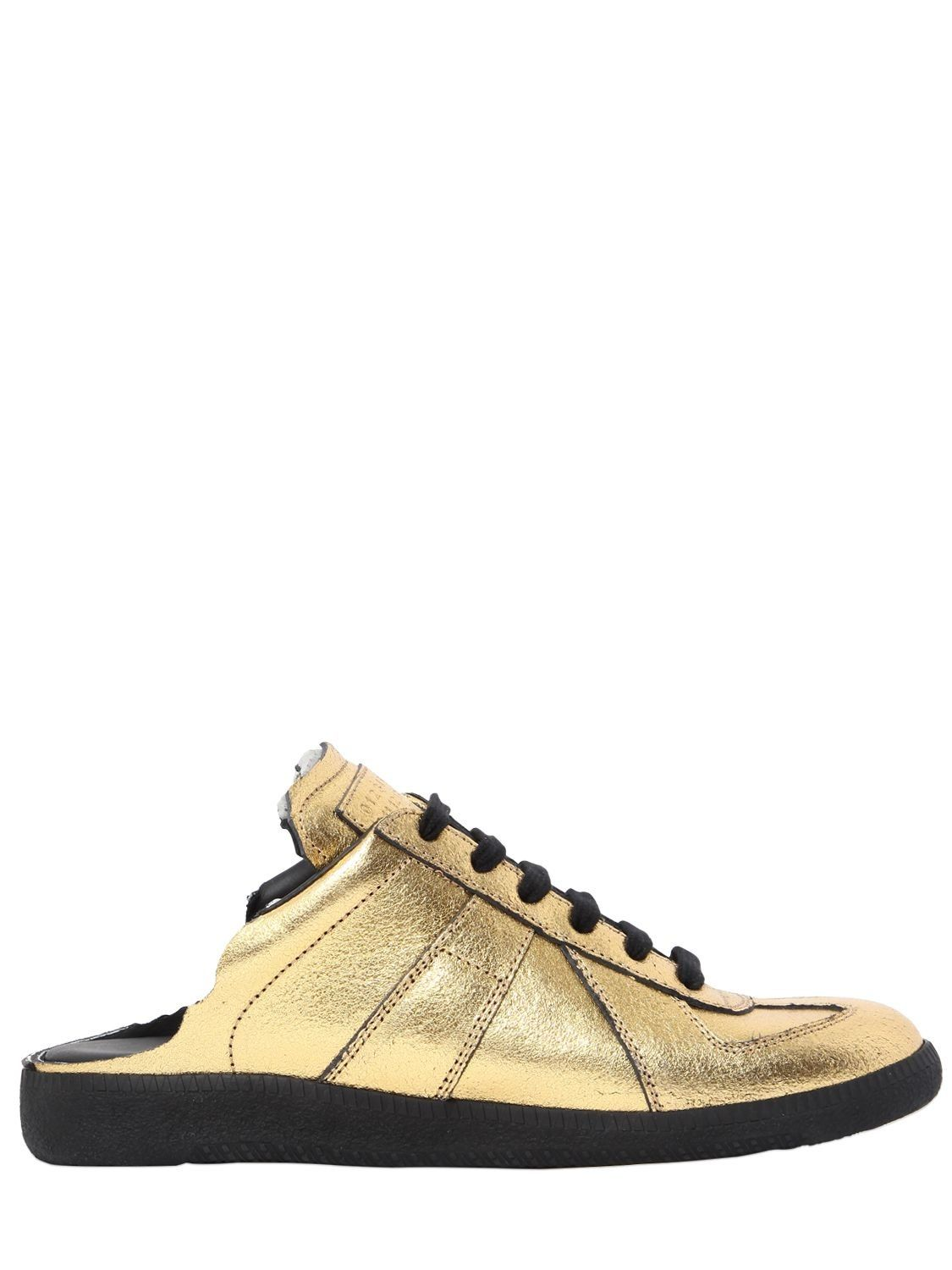 Maison Margiela 20MM METALLIC LEATHER MULE SNEAKERS