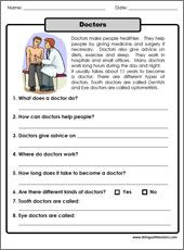 one paragraph long reading about doctors printable includes 8 different reading comprehension. Black Bedroom Furniture Sets. Home Design Ideas