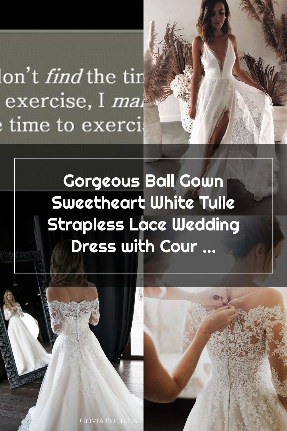 Ball Gown Sweetheart White Tulle Strapless Lace