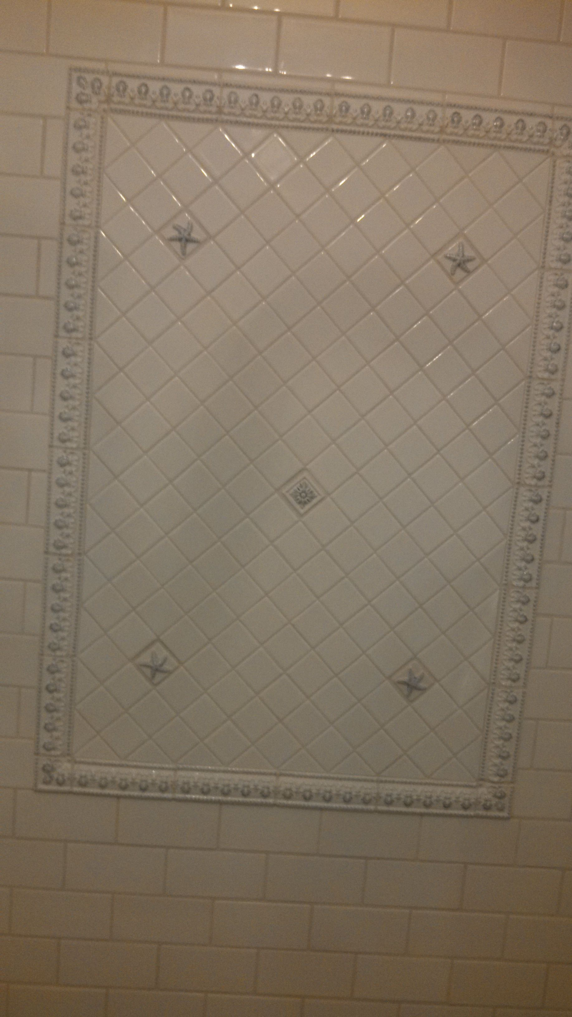 Hand painted Ceramic tile from Quemere. Note the starfish details in ...