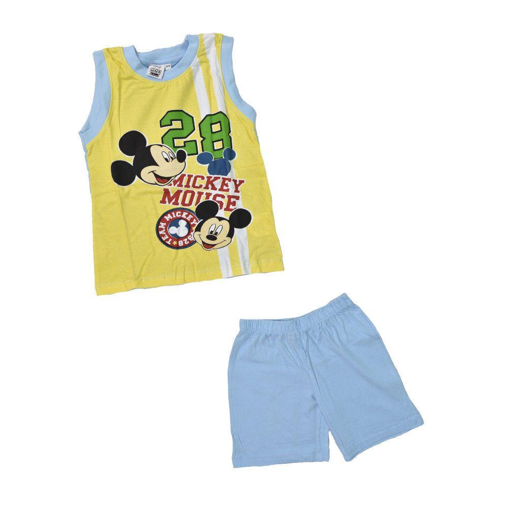 f3dda55bd2 Pigiama Bimbo Disney Mickey Topolino Canottiera Gialla Pantaloncini Azzurri