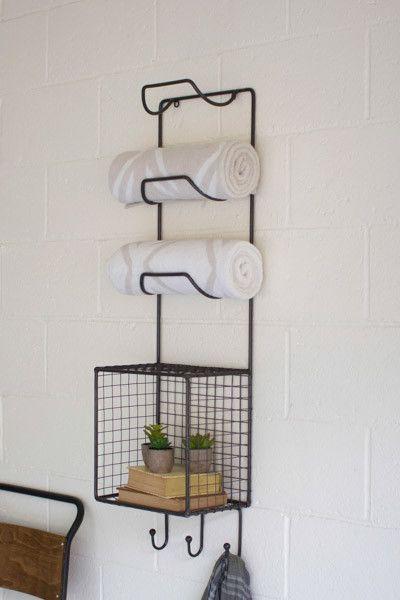 Towel Rack W Wire Basket Shelf 12 Quot X 8 Quot X 42 Quot T Please Be
