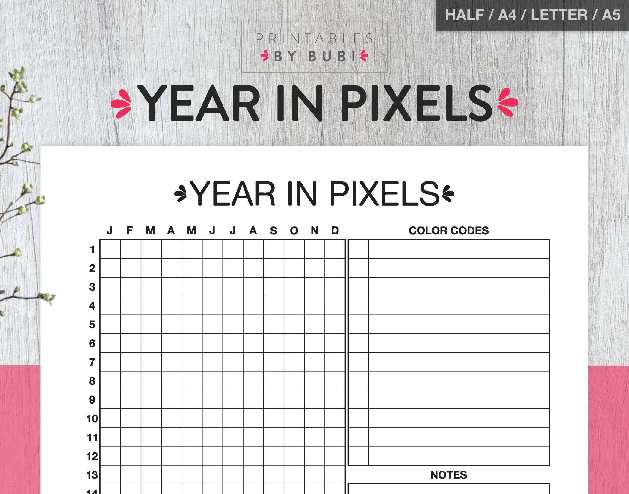 Mood Chart Mood Tracker Year In Pixels Bullet Journal