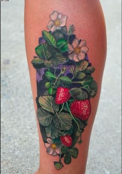 7d3d3b676 Realistic Strawberry Vine Tattoo...liking the fullness of it ...