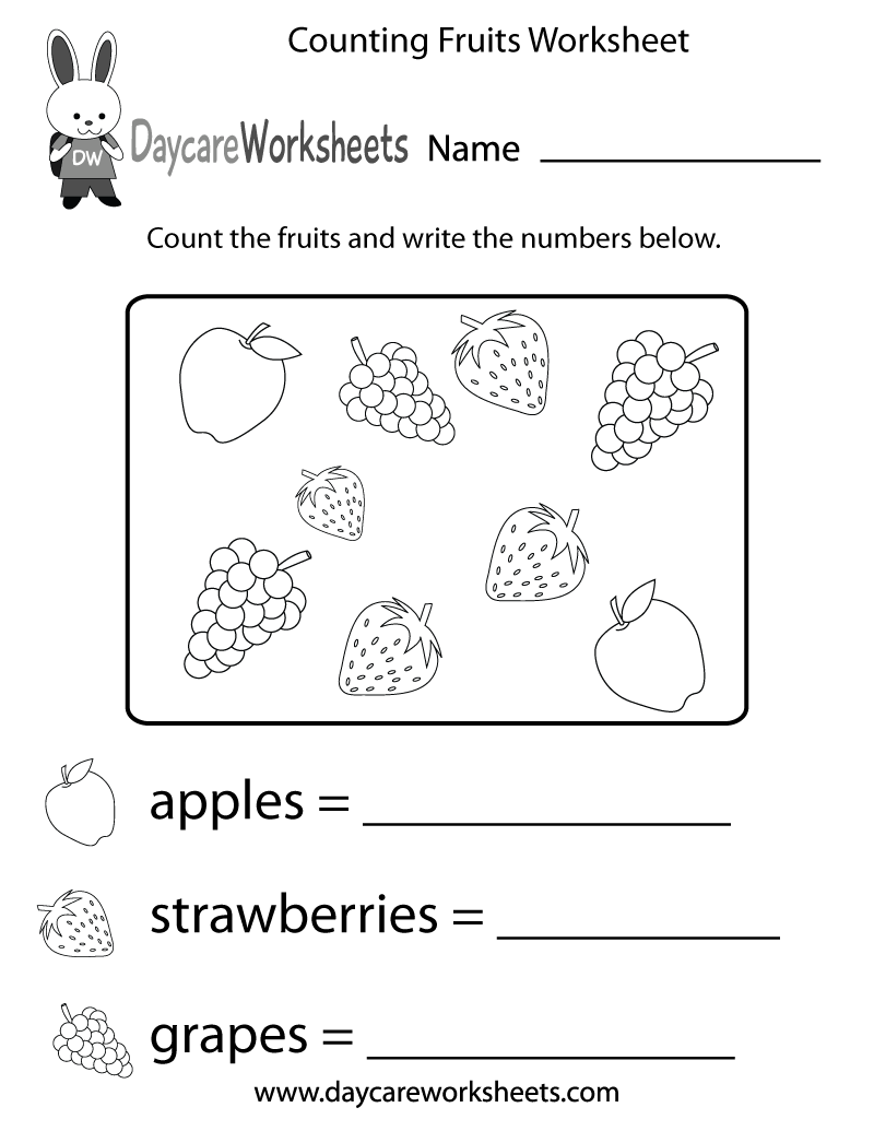 Worksheets Worksheet For Preschoolers in this fun counting activity worksheet preschoolers have to count different kinds of fruits and write