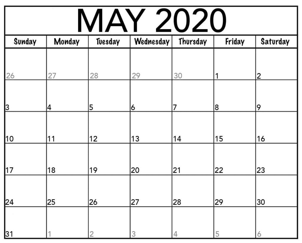This Post Dedicated To May 2020 Calendar With Holidays You Can