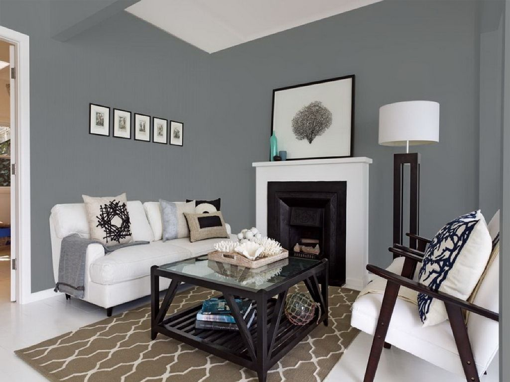 White And Grey Wall Colors For Cute Living Room Decorating Ideas