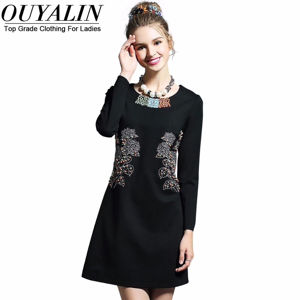ad714ebd4ad4b L- 5XL Embroidery   Beading Detail Autumn Mini Dress Long Sleeve O neck  Slim Cut Big Size