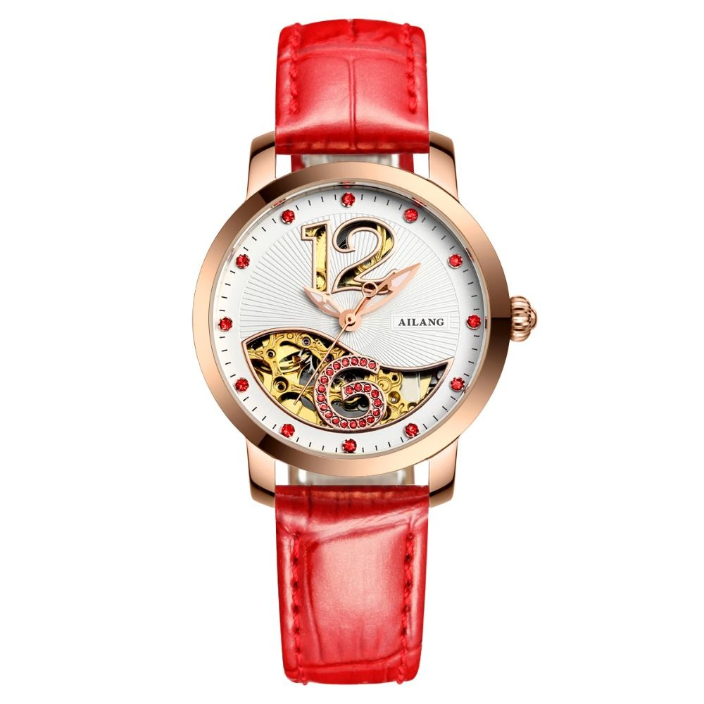 US $81.58 - Ladies High Quality Hollow Automatic Mechanical Watches Fashion Casual Womens Watch Leather Digital Wristwatches Reloj Mujer