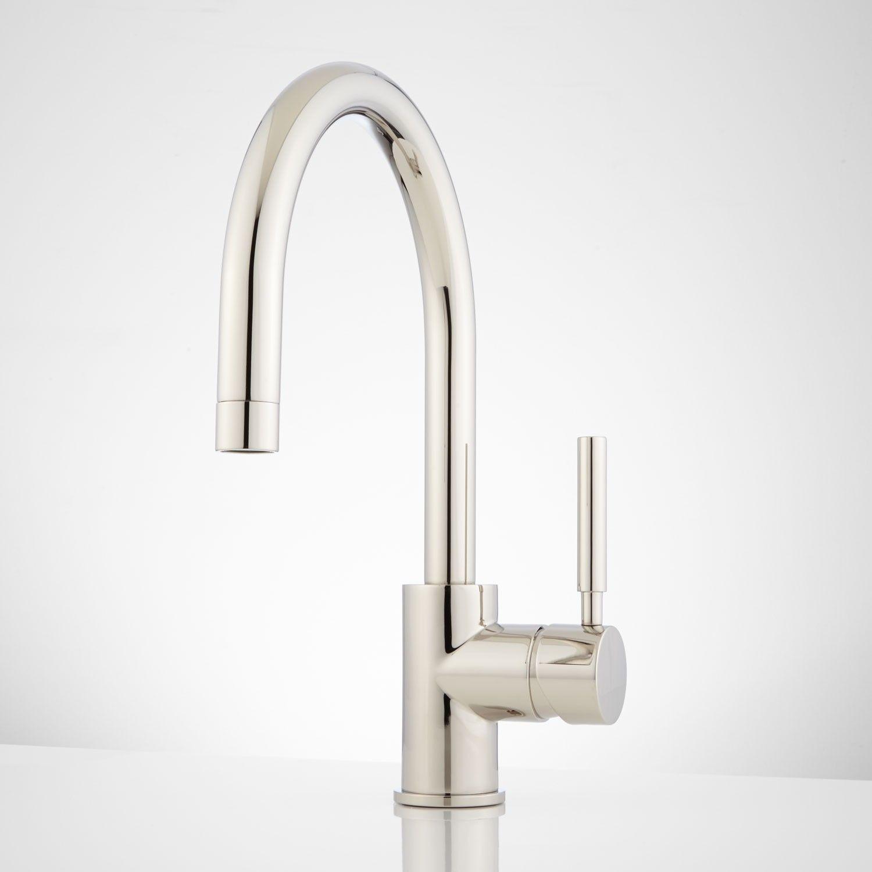 front photos com gooseneck faucets kitchen chrome unique one hole isabel of faucet single amazing