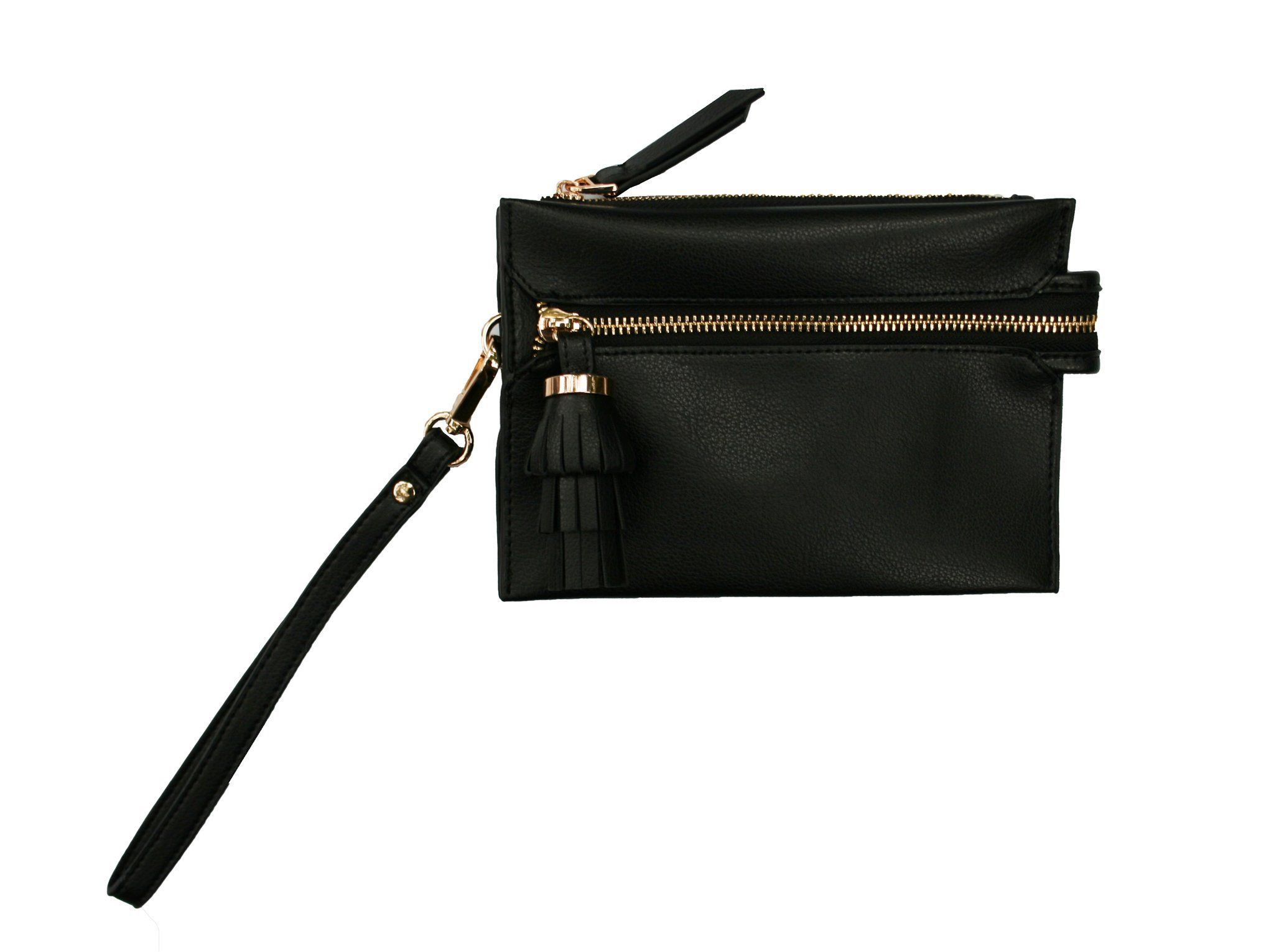 Shiraleah Chicago Tate Black Tassel Vegan Pouch Clutch Wristlet Purse