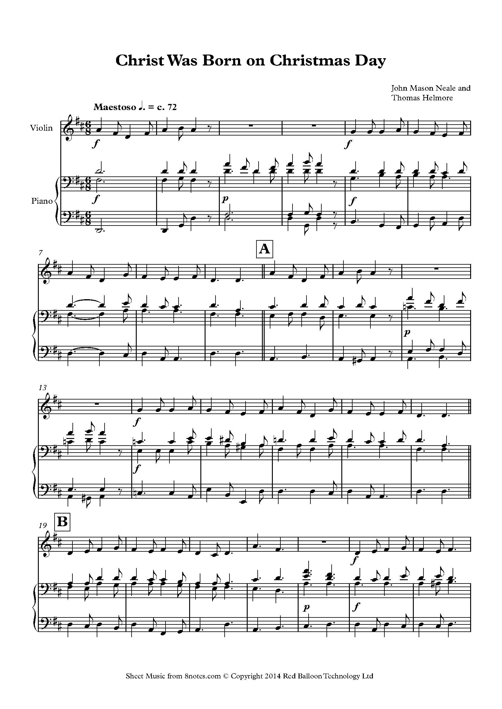 Christ Was Born on Christmas Day sheet music for Violin - 8notes.com   Sheet music, Free violin ...