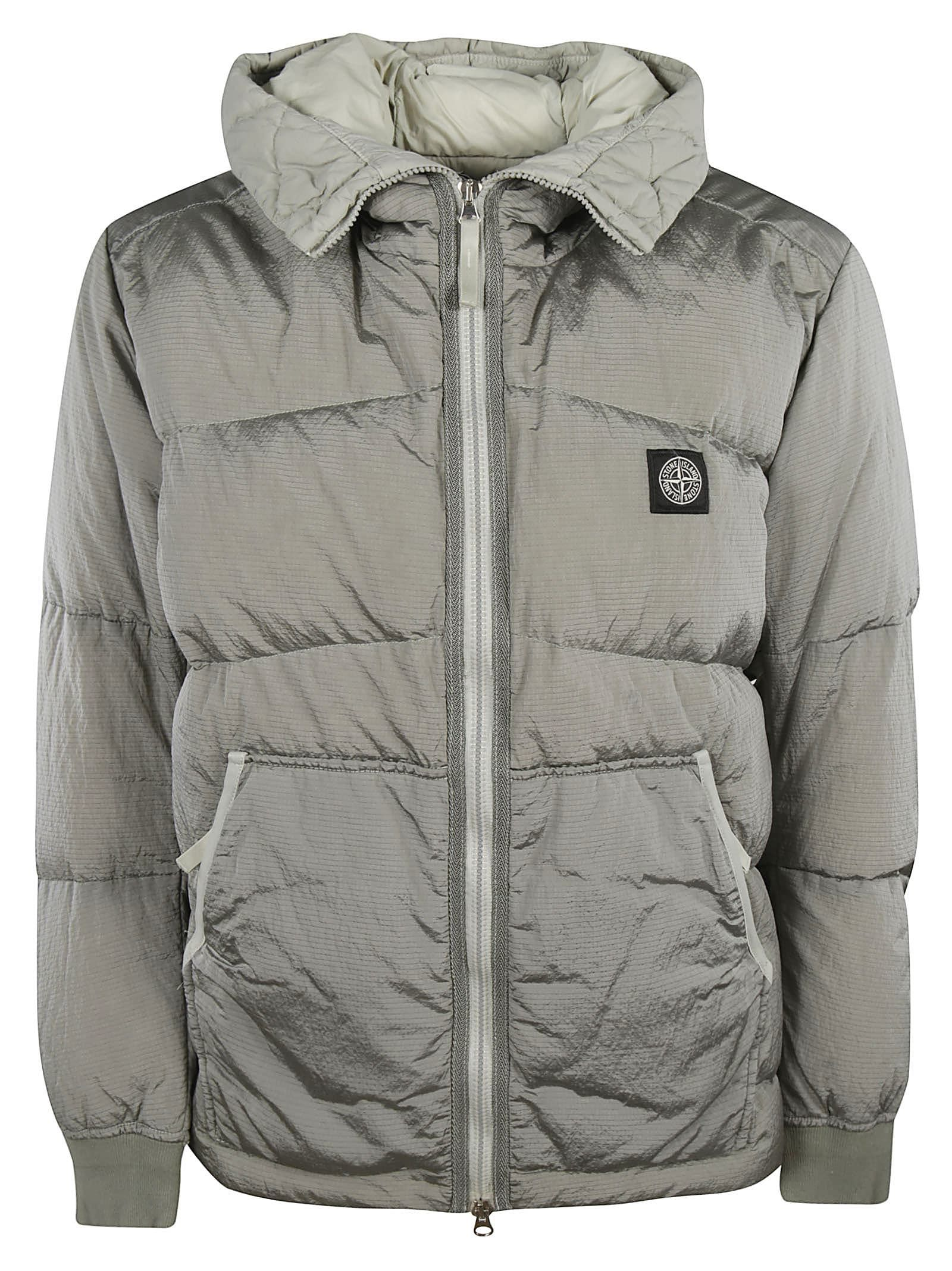 Stone Island Logo Patch Down Jacket In Light Grey Modesens Down Jacket Padded Jacket Jackets [ 2136 x 1600 Pixel ]
