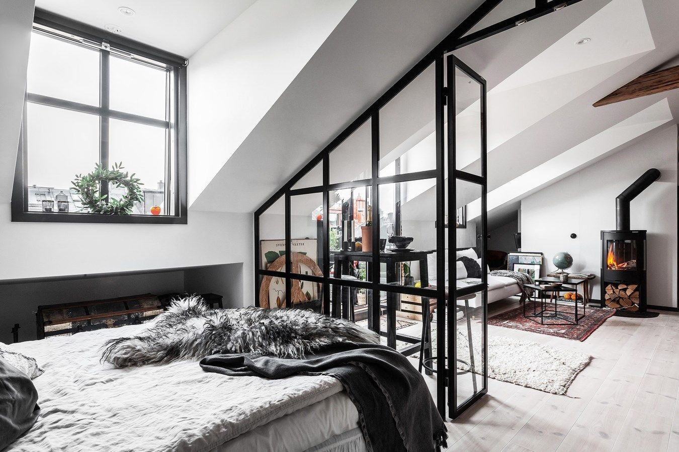 An Industrial Look For A Small Attic Apartment in Stockholm #atticapartment