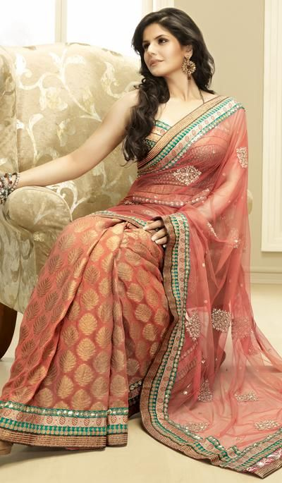 026aebb85 G3 Fashions Zarine Khan Rust Net Viscose embroidered partywear saree. Product  Code   G3-LS2230 Price   INR RS 4689