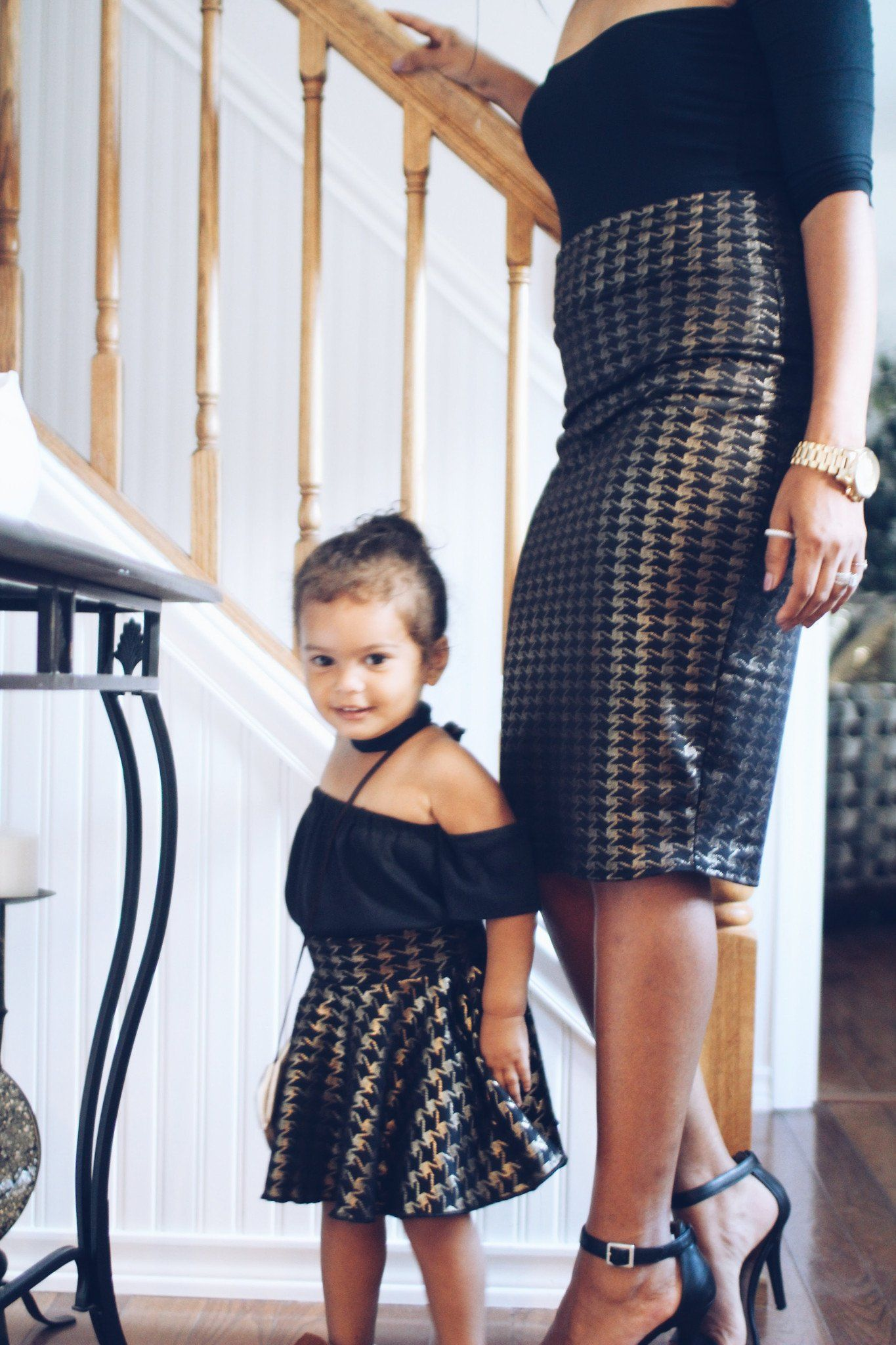 Mother Daughter Matching Skirts Houndstooth Gold