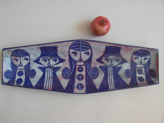 HUGE & RARE Marianne Starck for Michael Andersen - bowl / wall hanging - Persia glaze - midcentury