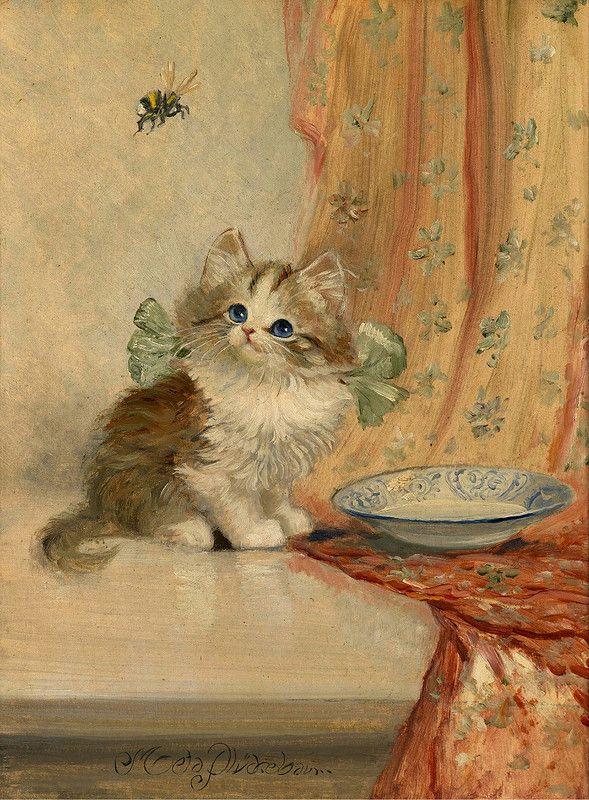 Кошки старинные картины открытки и рисунки, смешные