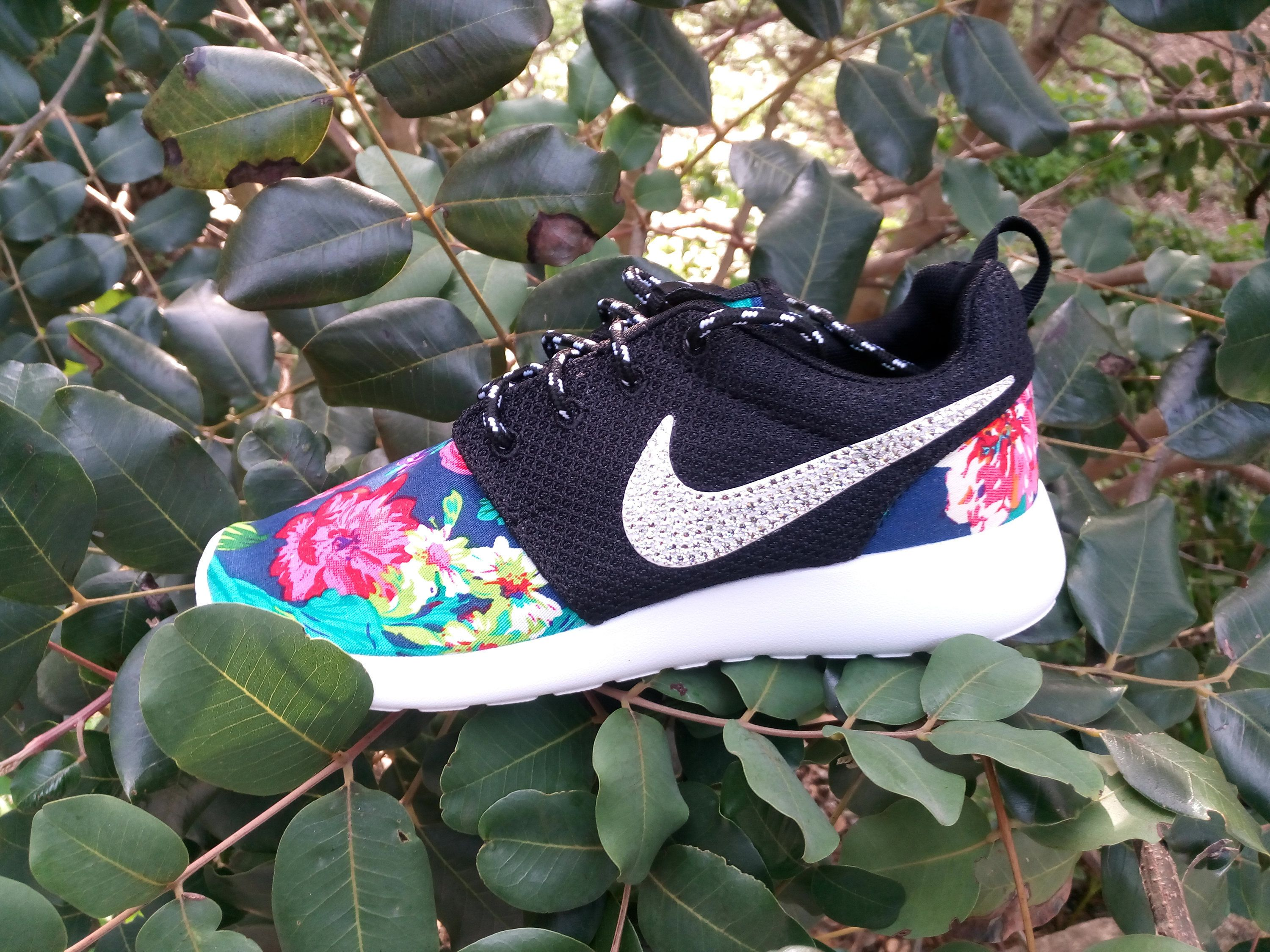 custom nike roshe run floral athletic shoes dark blue color customized with fabric  floral blinged with