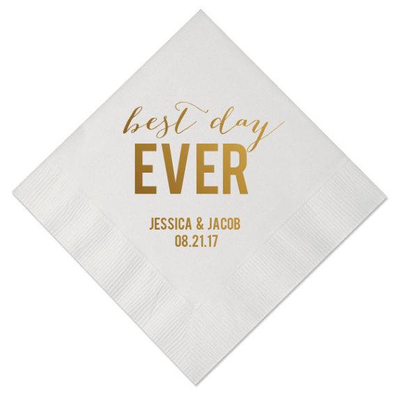 100 Personalized Napkins Best Day Ever Custom Printed Wedding Napkins 3 Ply Quality Napk Printed Napkins Wedding Personalized Napkins Wedding Napkins