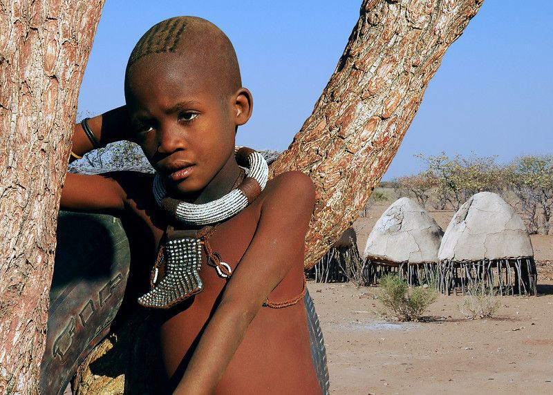 Naked african tribe boy
