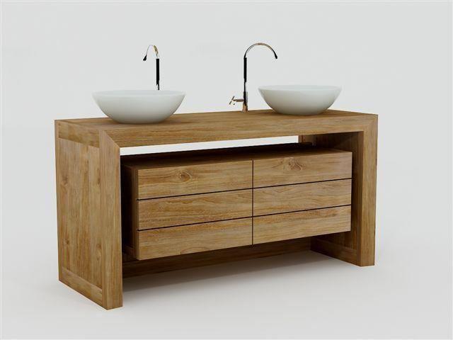 Meuble de salle de bain groix l120 en teck salle de bain - Pied reglable meuble salle de bain ...