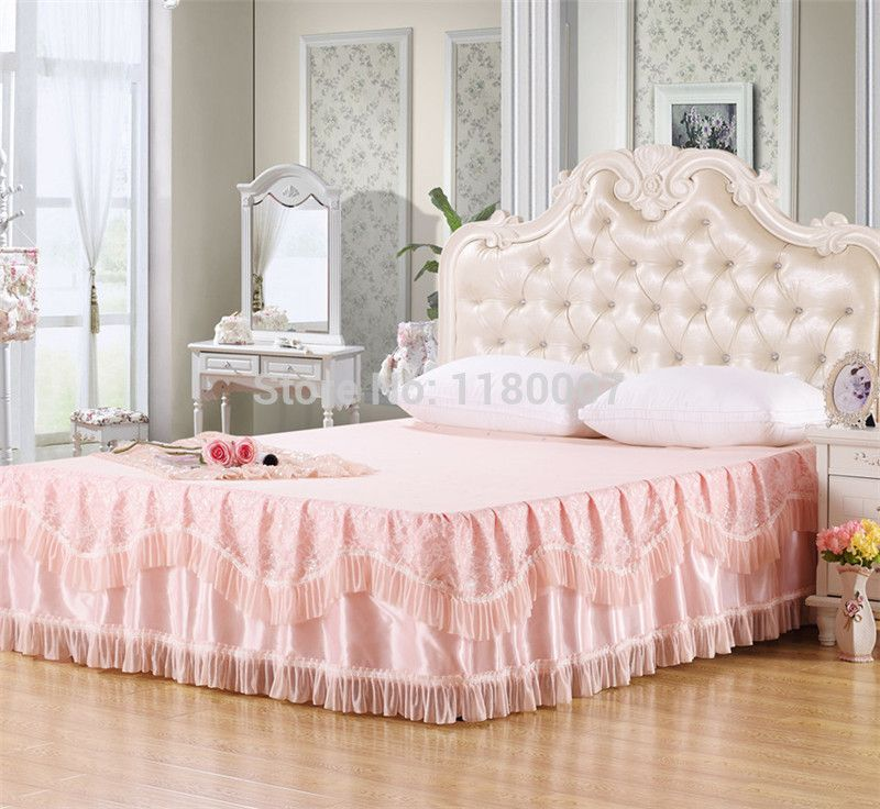 Find More Bed Skirt Information About Pale Peach Bedding Sets Bedspread  Princess Lace Bed Skirts Mattress