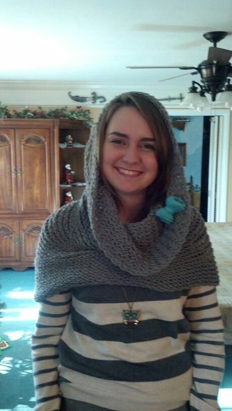 "Loom Knit Infinity scarf/cowl/hood Knitted on MS loom with figure 8 stitch.  Used ""I love this yarn"" gray."