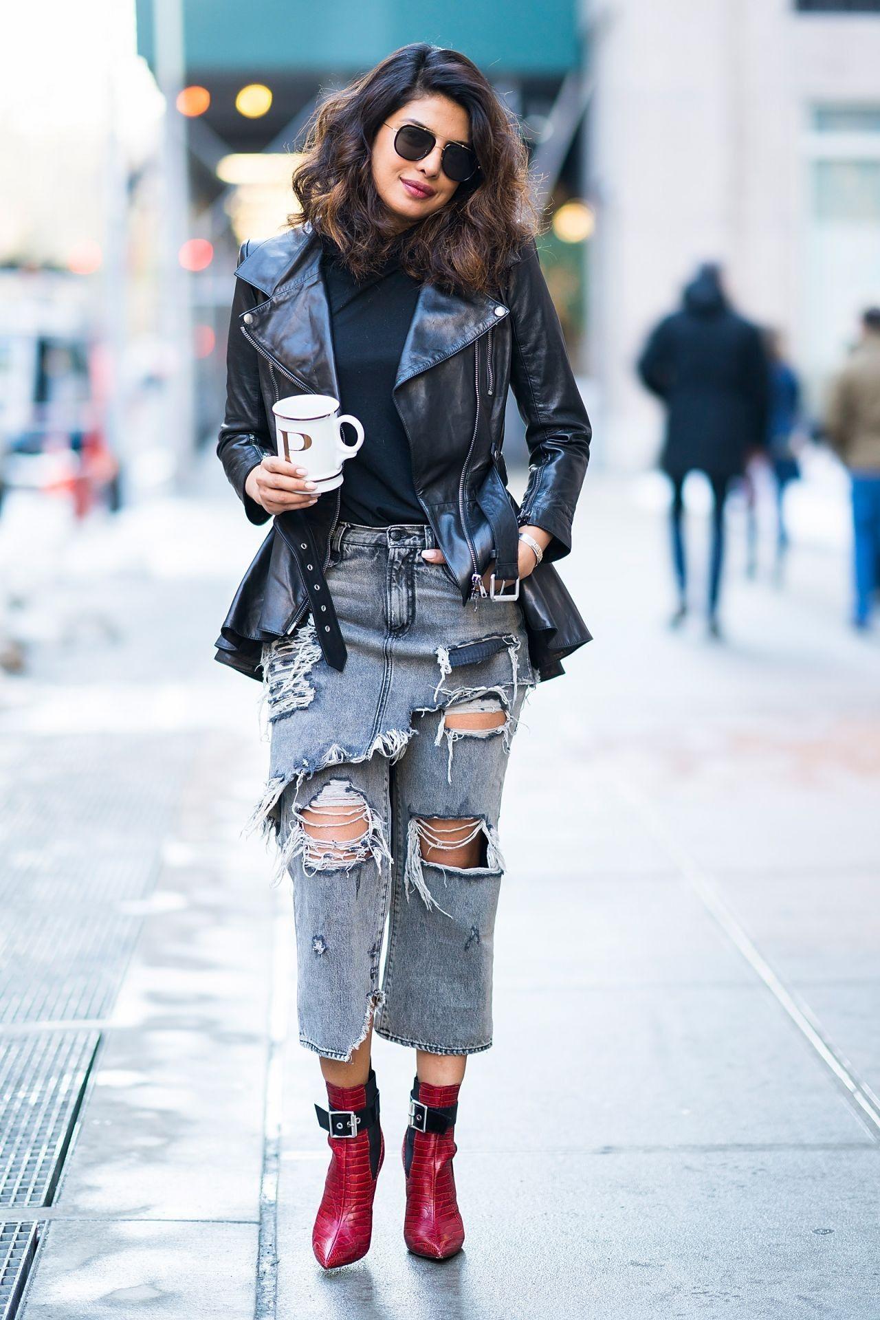 Priyanka Chopra Street Style in Tribecca January 9th 2018 wearing an  Alexander McQueen Leather Biker jacket, R13 double classic shredded hem  Jean, ... 0789e6f6dbe