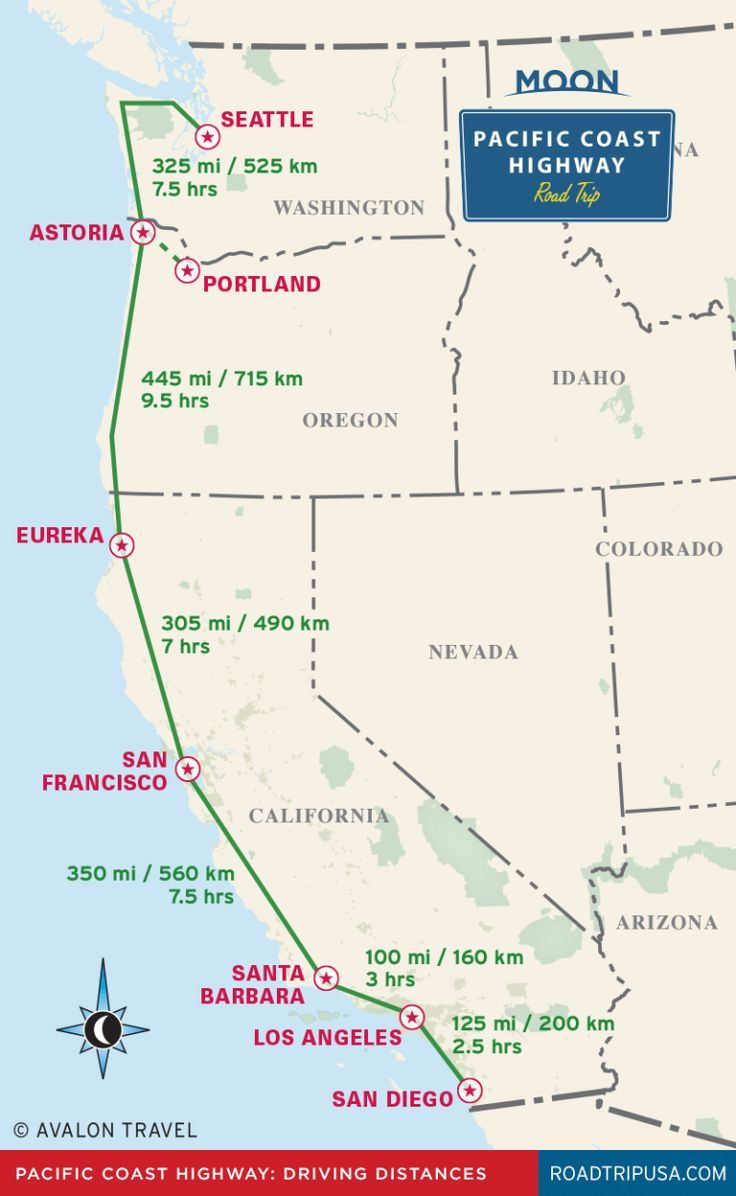 Pacific Coast Highway driving distance map from Moon Pacific ...