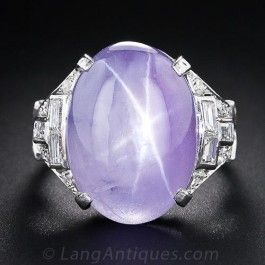 18.50 Carat Lavender Star Sapphire Art Deco Platinum Diamond Ring - Shop for Jewelry