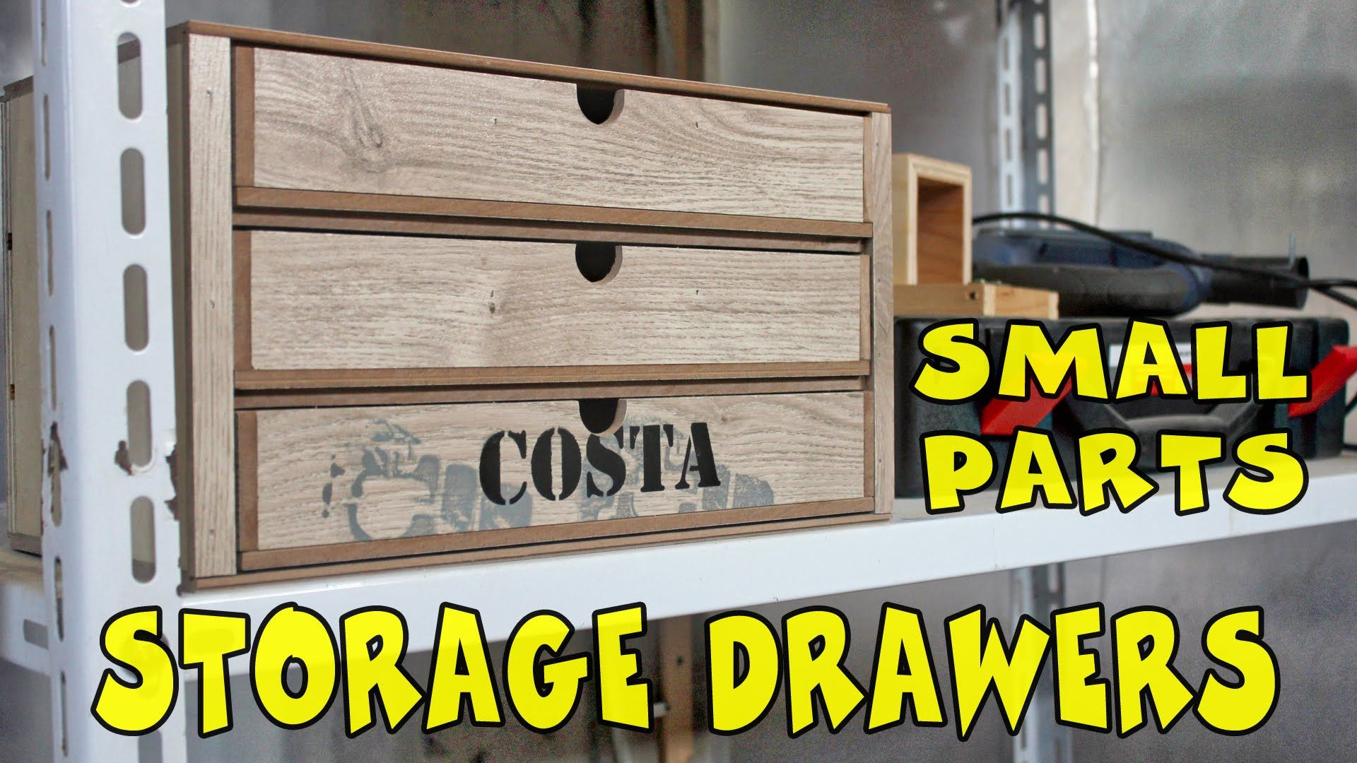 DIY Small parts storage drawers made of scrap laminate flooring and