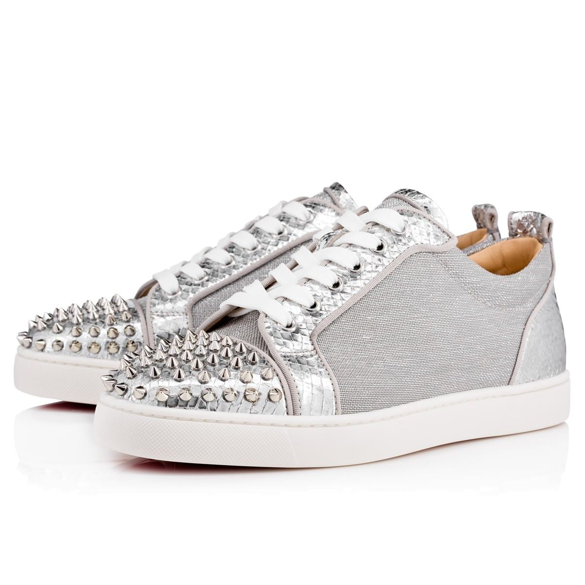 e779e5e2a6ff5 Men Shoes - Louis Junior Spikes Flat Lame Sire/jute Lame/gg Cotton - Christian  Louboutin