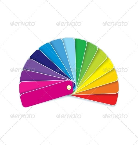 Swatches in Rainbow Template, Paint and Circles - rainbow template