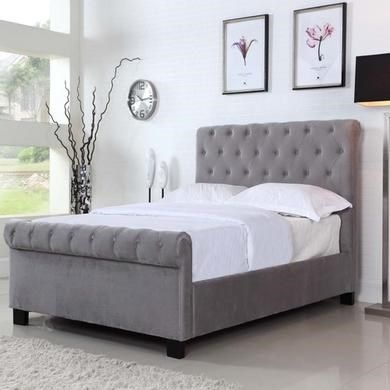 Safina Roll Top Kingsize Sleigh Bed Frame in Grey Velvet ...