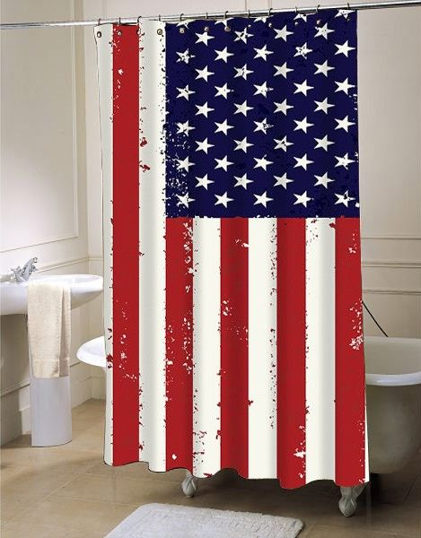 American Flag Shower Curtain At Shower Curtain Decor