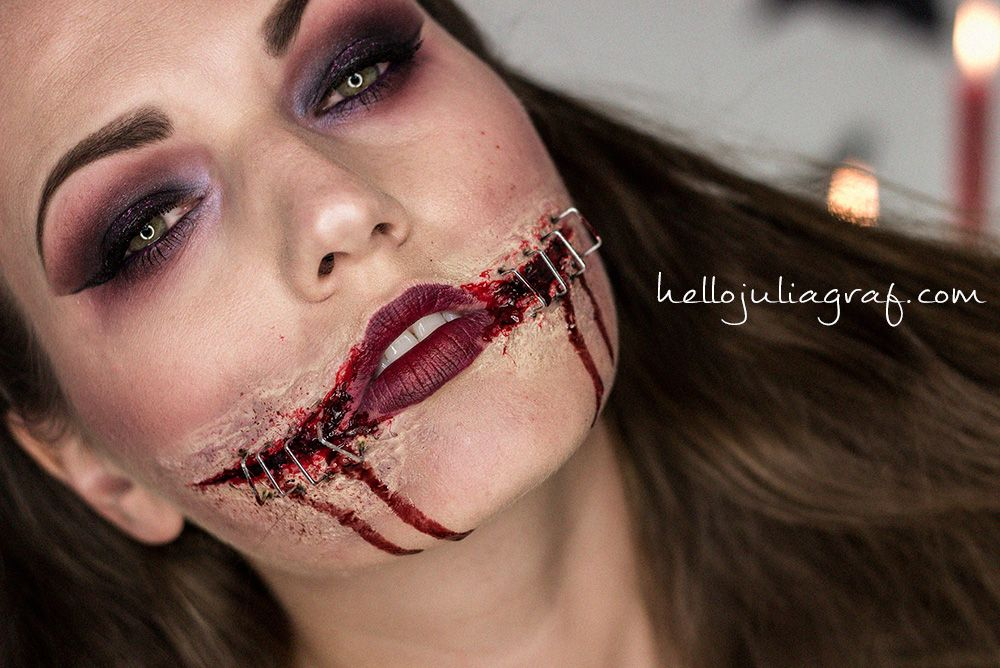 Ripped & Stapled Mouth Halloween Tutorial | My Work ...