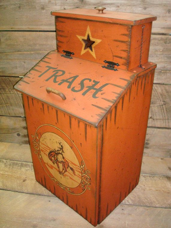 Wood Trash Can with Trash Can Bag Storage. Western Style ...