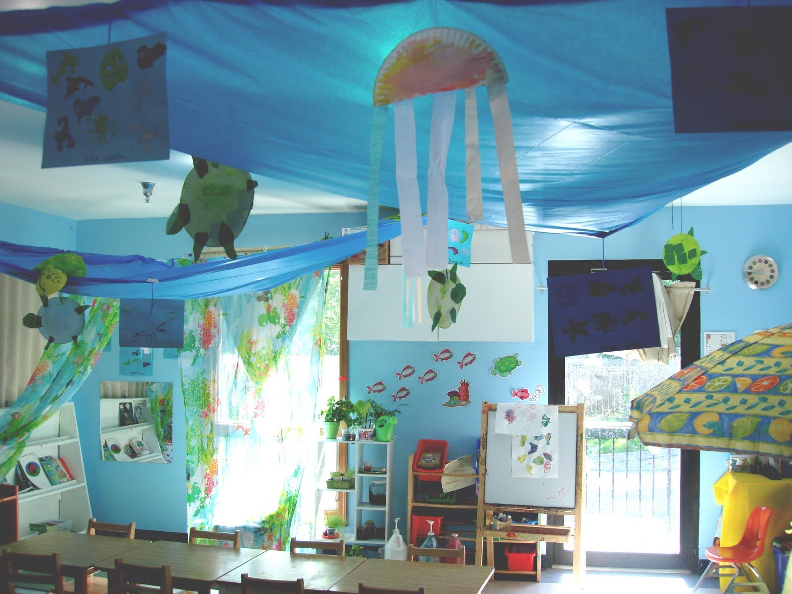 Classroom Board Ideas For Preschool ~ Making the ceiling look like an ocean ideas for