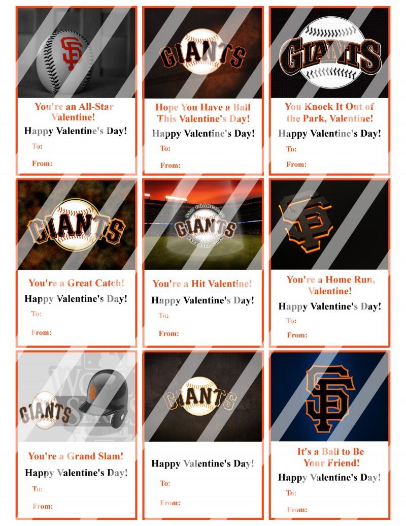 san francisco giants valentines day cards sheet 3 instant download or printed