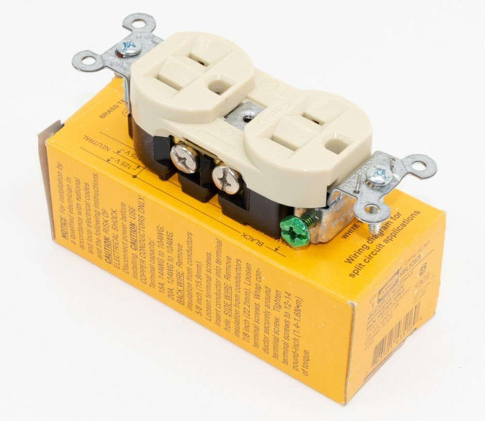 ebay #sponsored hubbell hbl5262i duplex receptacle hd industrial grade 15  amp 125v 5-15r ivory
