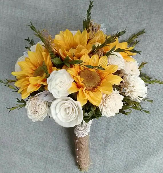 Sunflower Bridal Bouquet Sola Flower Bridal Bouquet Rustic