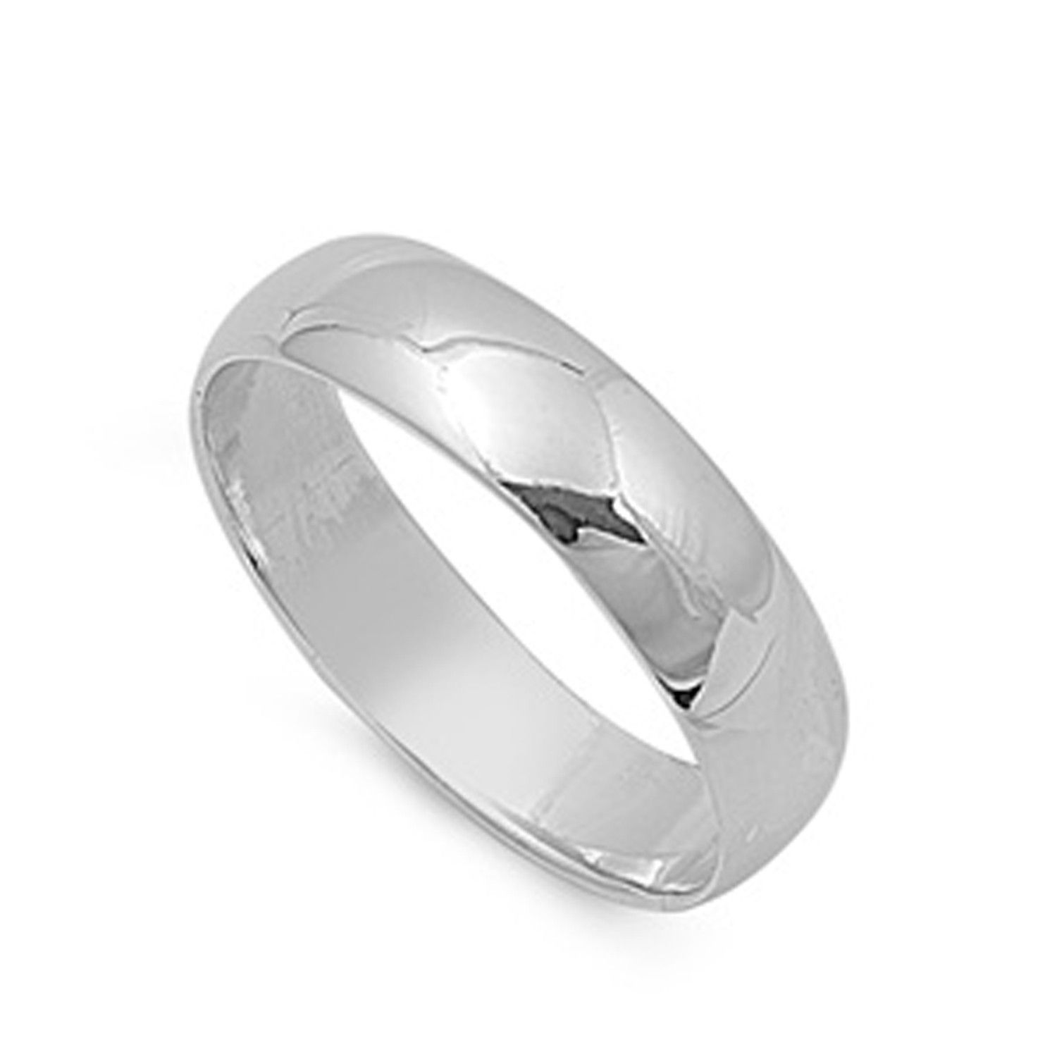 Size 4 to 15 Sterling Silver Wedding Ring Classic Domed Plain Wedding Band 6MM