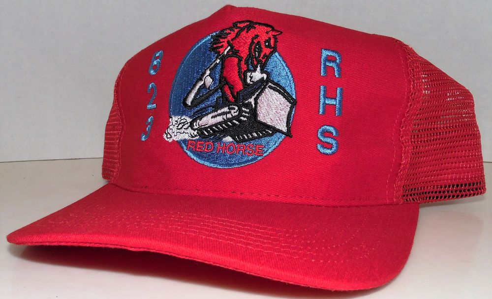 best service 915a0 d1a5c Air Force Military 823 RHS Red Horse Squadron Vintage Red Trucker Snapback  Hat  AmericanUniform  Trucker