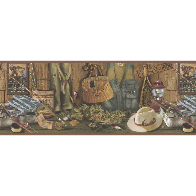 Brewster Gone Fishing Memorabilia Wall Border 145B64970
