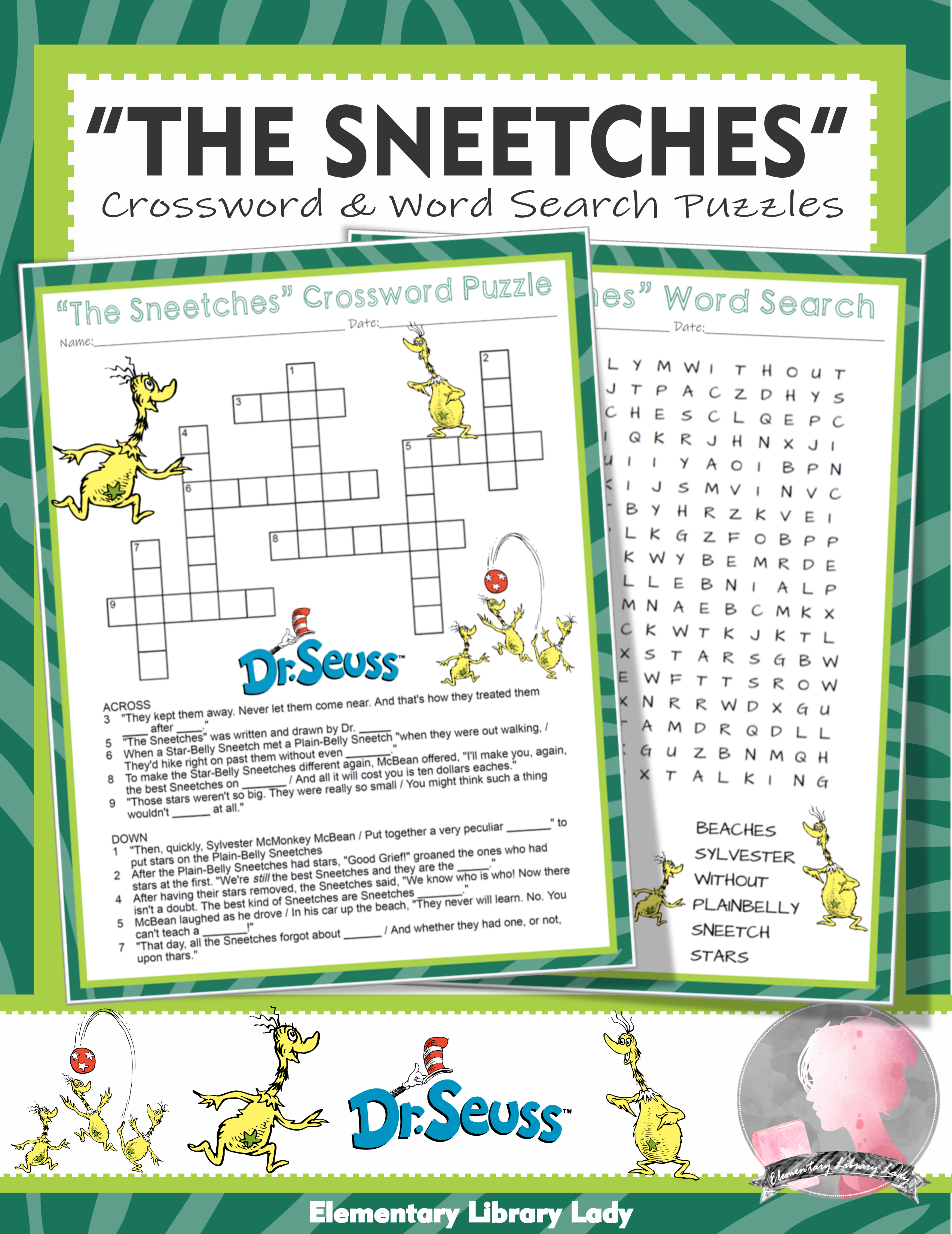 The Sneetches Activities Dr Seuss Crossword Puzzle And