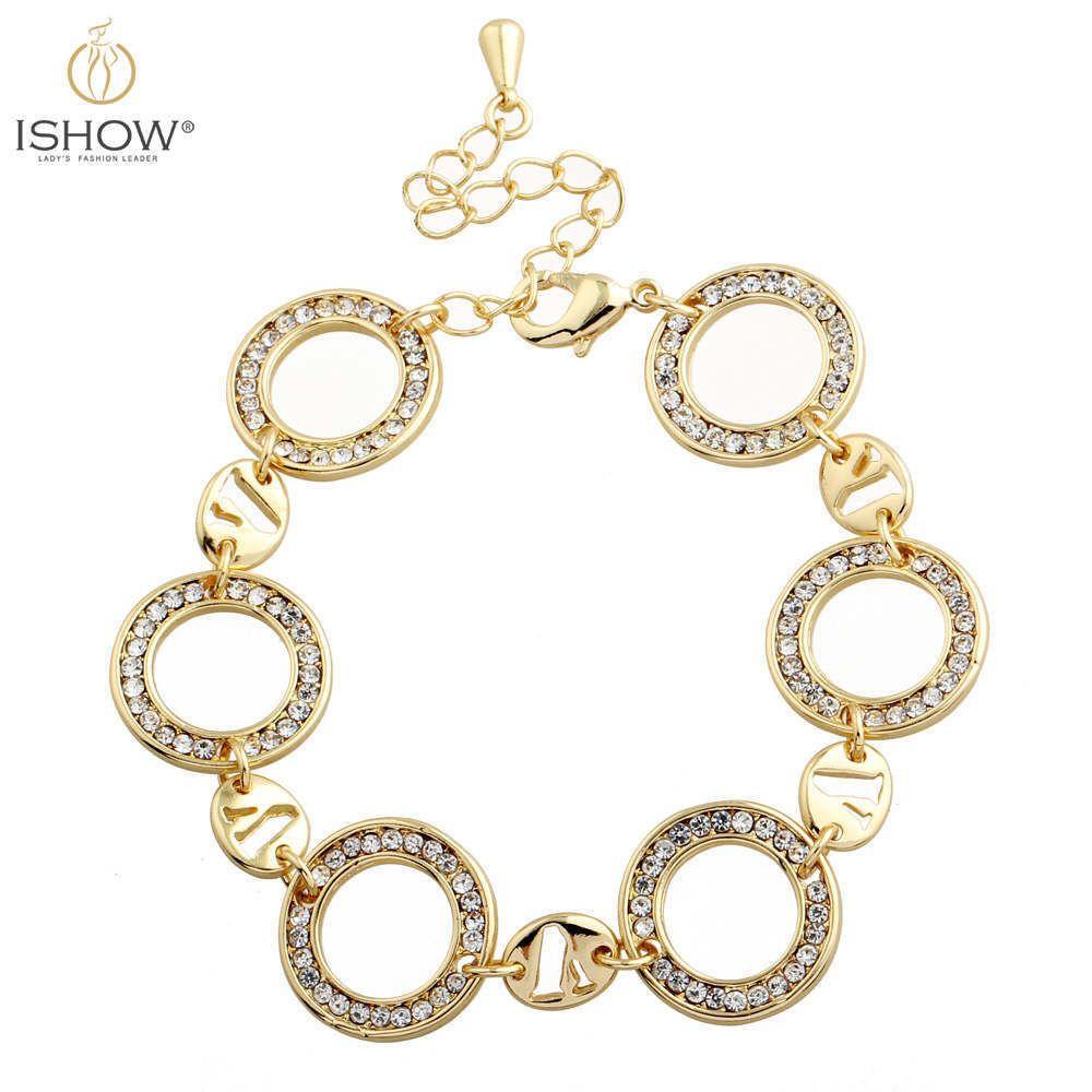 Elegant crystal gold plated circle charm bracelet for women fashion